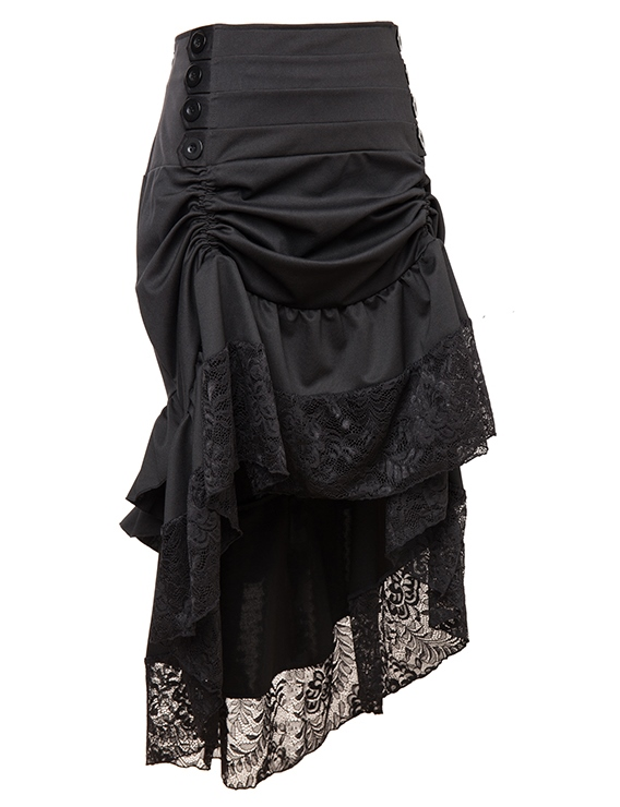 Black Victorian Burlesque Steampunk High Low Skirt