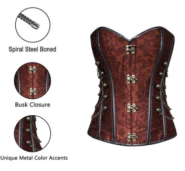 Brown Jacquard Steampunk With Chains Steel Boned Corset