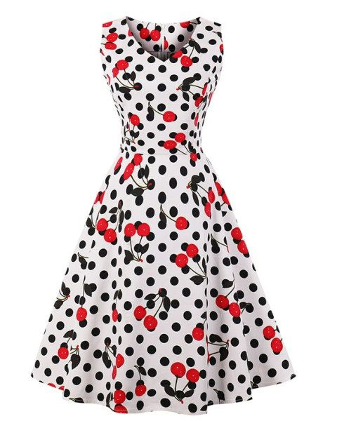 Polka Dot Cherries Rockabilly Swing Dress