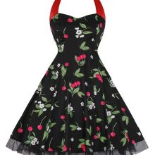 halter neck cherry retro rockabilly swing dress