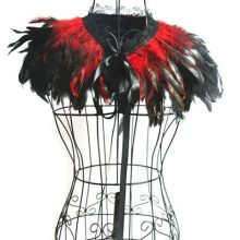 Burlesque Victorian Red Feather Cloak Collar