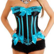 burlesque turquoise black corset