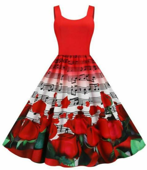 Red Music Notes Roses Hearts Retro Vintage Dress