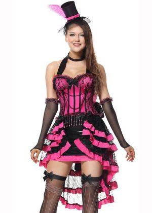 Pink Burlesque Showgirl Wild West Costume