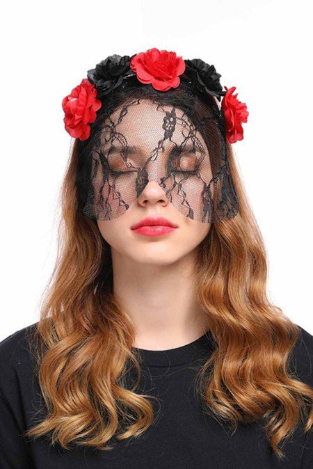 rose flower gothic headband with veil