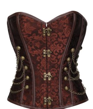 Corset Gothic Steampunk Brown plus size