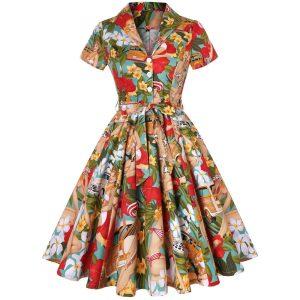 Aloha Tiki Hawaiian Retro 1950's A Line Full Circle Dress With Sleeves