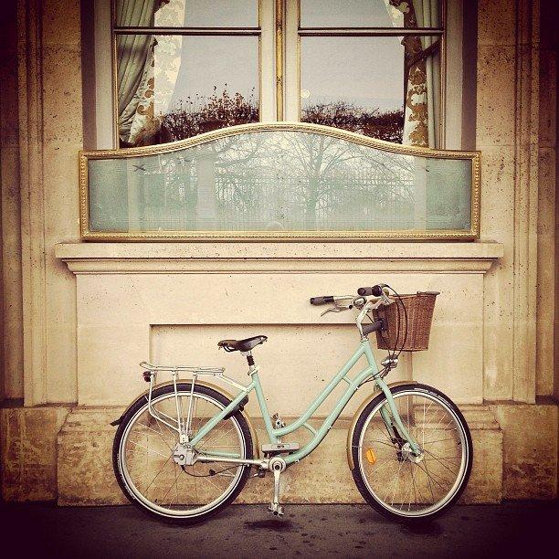 Color coordinated bike/hotel, Hotel Le Meurice, Paris