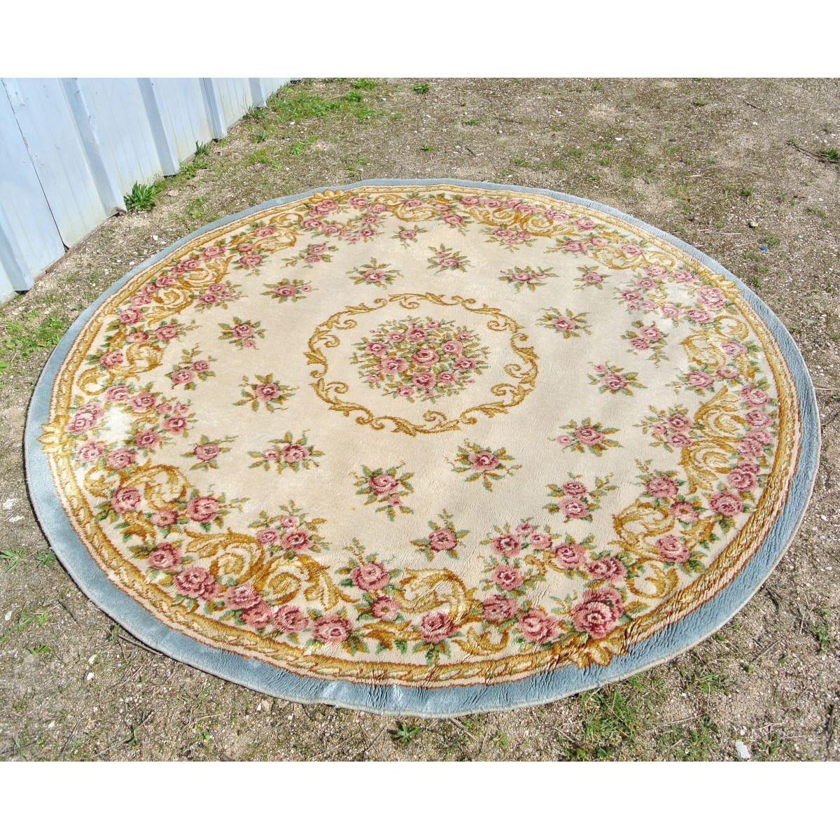 https www lepalaisdesbricoles com fr rideaux coussins tapis 4058 tapis rond ancien fleurs senlis made in holland html