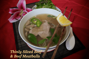 Beef Sliced and Beef Meatballs Pho Noodle Soup