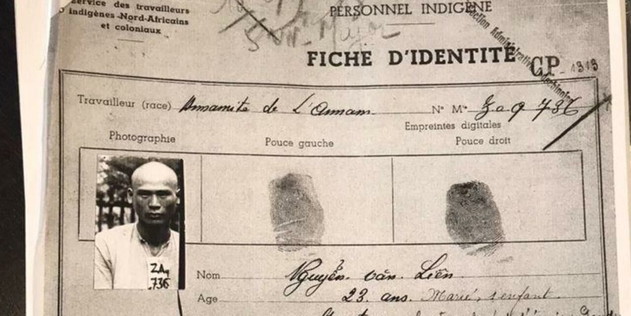 Fiche d'identité de Van Lien Nguyen, l'un des 20 000 Cong Binhs réquisitionnés par la France lors de la Seconde Guerre mondiale. LP/Jeanne Cassard