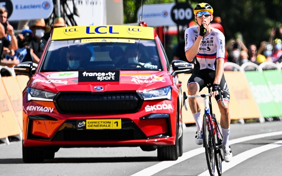 Matej Mohoric signals to those who suspect him of doping to be silent.  Icon Sport / Belga / Pete Goding