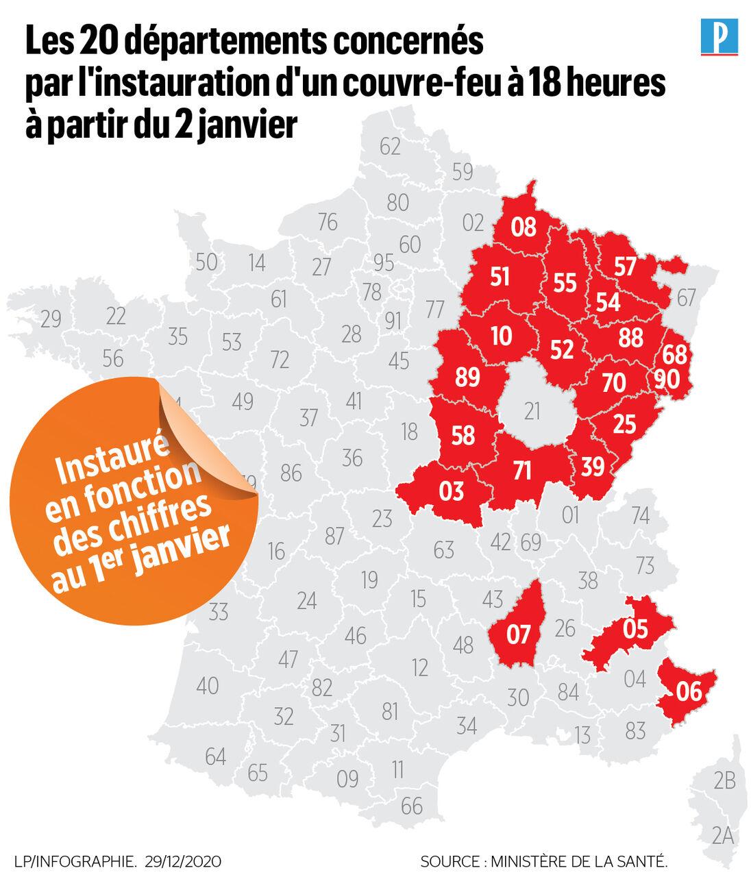 Covid-19 : découvrez la carte des 20 départements où le couvre-feu pourrait être avancé à 18 heures