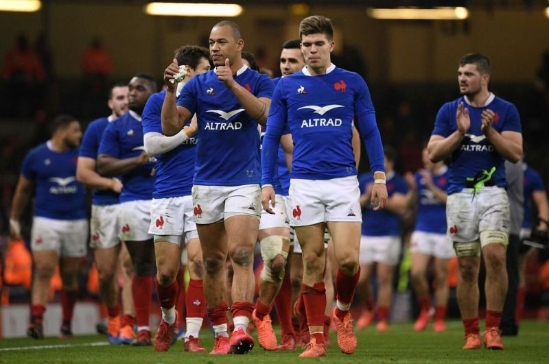 Gaël Fickou and his teammates have just beaten the Welsh in Cardiff. They can savor this victory./AFP/Anne-Christine POUJOULAT