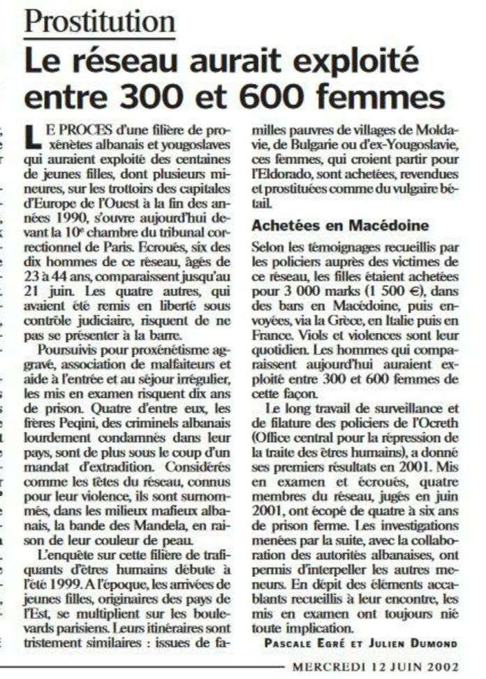 The article published in Le Parisien, in 2002, at the time of the opening of the Peqini brothers' trial. DR