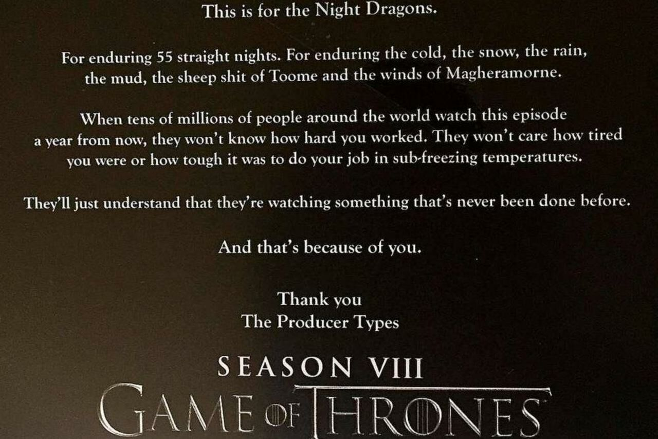 Game Of Thrones Une Seule Bataille A Necessite 55 Nuits De