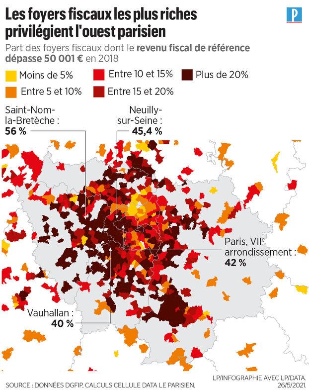 Impôt sur le revenu: cartes des villes de France où vivent les revenus les plus élevés