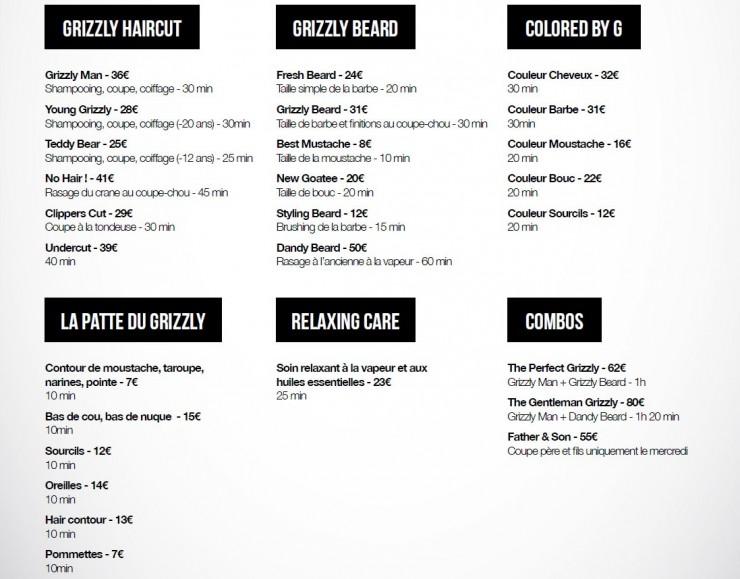 Les tarifs du Grizzly Barber Shop