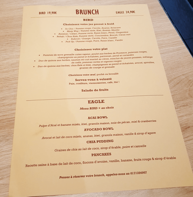 Restaurant Ensuite menu du brunch