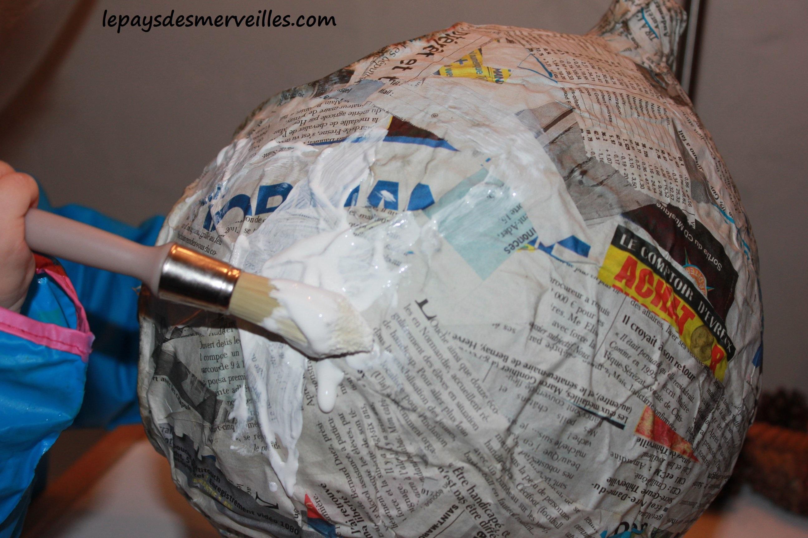 Citrouille En Papier Mch Avec De La Colle Maison