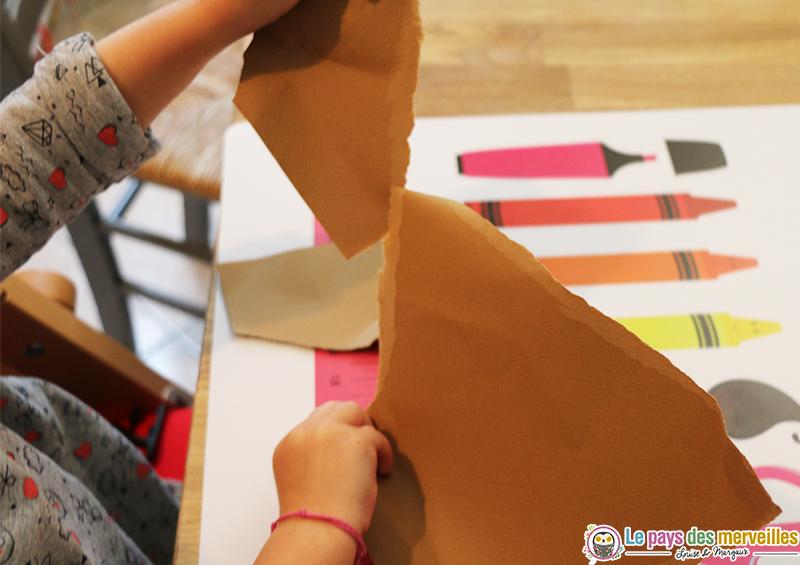 Loup en papier dchir collage et peinture  activit manuelle ds 2 ans