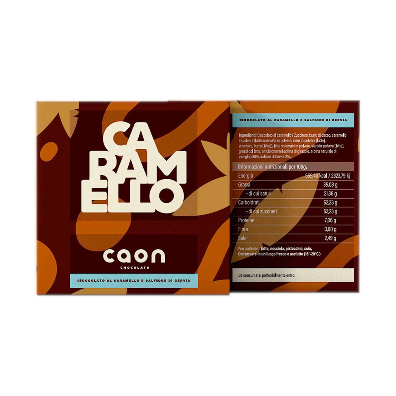 CIOCCOLATO AL CARAMELLO E SALFIORE DI CERVIA 50GR Caon Chocolate