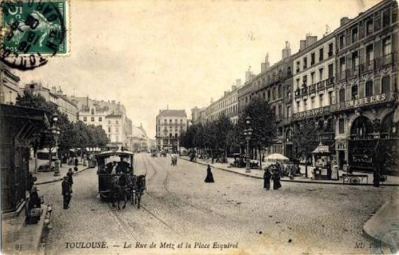 Rue de Metz et Place Esquirol en 1887 (Archives municipales de Toulouse)