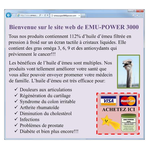 Site web typique pour acheter de l'huile d'émeu et qui exagère son efficacité