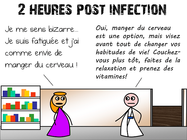 2 heures post-infection : une dame a envie de manger du cerveau