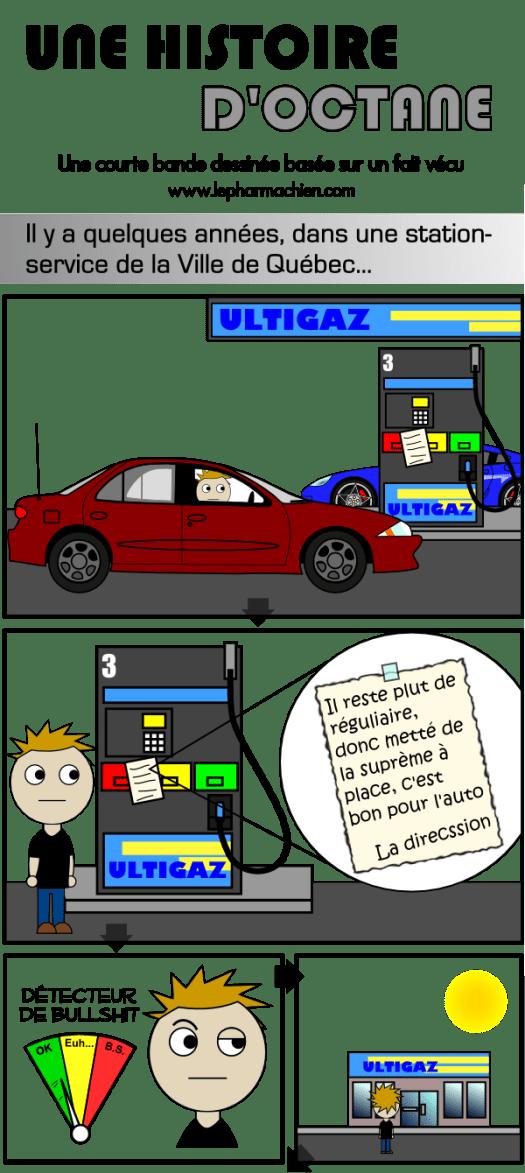 Arrivée à la station-service et lecture de la note étrange à propos de l'essence régulière et suprême