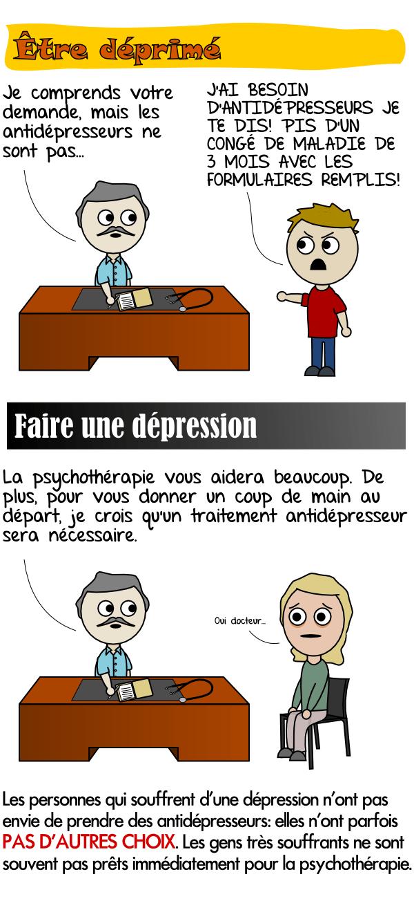 Les personnes qui souffrent de dépression n'ont parfois pas le choix de prendre un antidépresseur