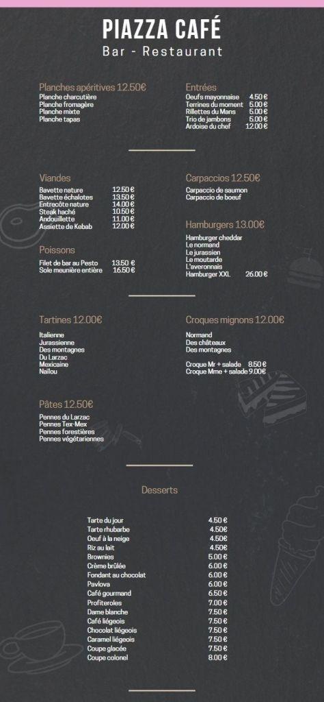 carte des plats restaurant bar tapas laigle café piazza