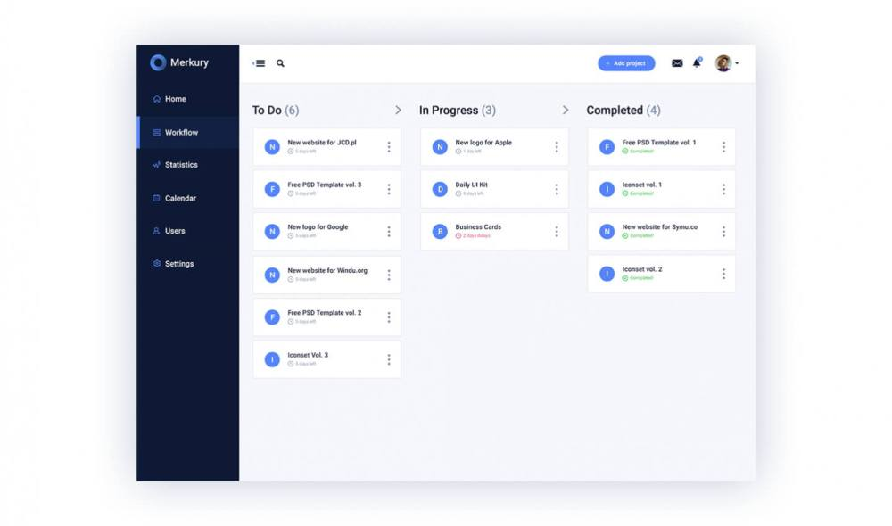 Free UI Kit Merkury Dashboard - workflow