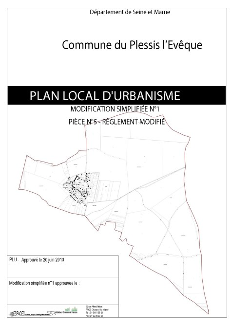 Plan Local d'Urbanisme (PLU) LE PLESSIS L'EVEQUE