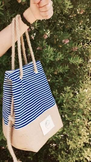 Sacca con righe azzurre - La Goffa - Le Plume