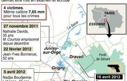 """L'homme mis en cause, que le ministère de l'Intérieur avait qualifié dès samedi de """"suspect très sérieux"""", avait été interpellé entre le domicile de sa mère à Ris-Orangis (Essonne) et l'immeuble qu'il habite dans la commune mitoyenne de Draveil."""