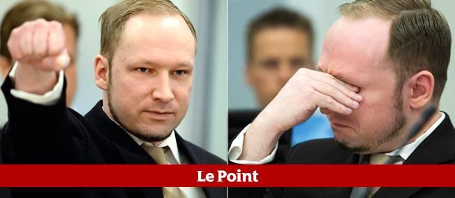 Breivik lors la première journée de son procès, lundi à Oslo.