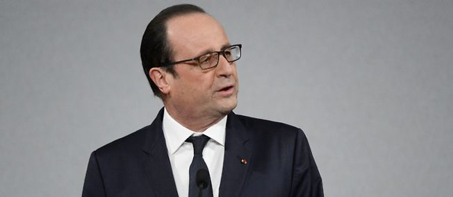 François Hollande aux festivités pour le 70e anniversaire de l'AFP.