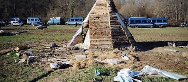 Vue prise le 6 mars 2015 du projet du barrage de Sivens (Tarn), d'où une quarantaine de zadistes ont été expulsés.