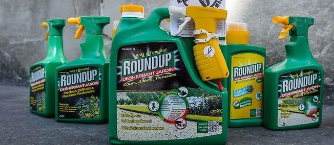 Des produits désherbants Roundup de la firme Monsanto devant le ministère de l'Écologie à l'occasion de la marche contre Monsanto qui s'est déroulée à Paris le 23 mai 2015.