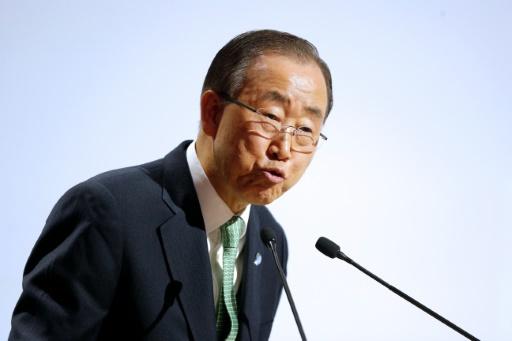 Ban Ki-moon à la tribune de la COP21 le 30 novembre 2015 au Bourget © THIBAULT CAMUS POOL/AFP