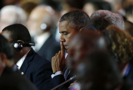 Le président Barack Obama le 30 novembre 2015 au Bourget pour la COP21 © STEPHANE MAHE POOL/AFP
