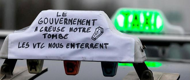 Un taxi en grève contre les VTC, photo d'illustration.