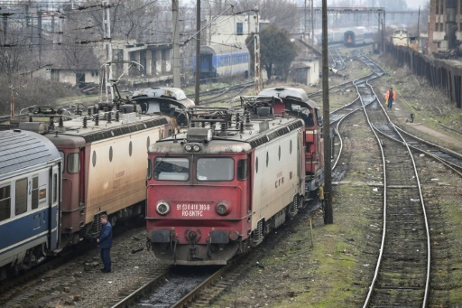 Un train près de la gare du Nord de Bucarest, le 12 février 2018  © Daniel MIHAILESCU AFP