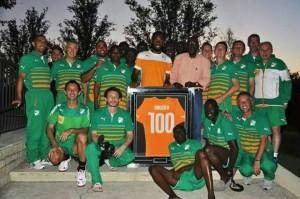 Le Président de la Fédération Ivoirienne de Football, Augustin Sidy Diallo, présent à Dallas, a offert un diner aux Eléphants de Côte d`Ivoire en l`honneur de Didier Drogba, pour sa 100e sélection en équipe nationale (Ph: Dr).