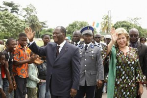 Alassane Ouattara dans l'Ouest de la Côte d'Ivoire le 28 avril 2013 (Ph: Archives)
