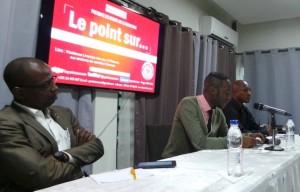 Pour le débat, Edwin Anoma (avec à sa droite Robert Krgbé et à sa gauche Joël Poté), le Dp du journal a enfilé la casquette de modérateur.