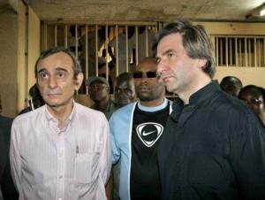De G à D: Valentini, Ogonougbo (au centre) et Claude Dauphin lors des émeutes soulevées par des détenus, en son temps à la Maca (Ph: Dr)