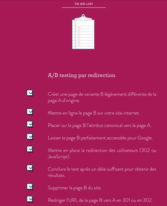 test par redirection checklist seo