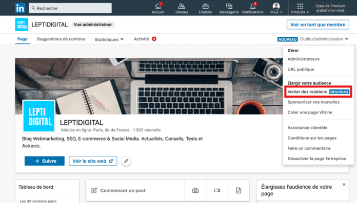 invite follow linkedin page